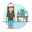 computer, female, gamer, geek, home, nerd, pc, studio, tribes, urban, workstation icon