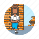 brick, female, gang, leaning, on, rebel, skinheads, tribes, troublemaker, urban, wall icon