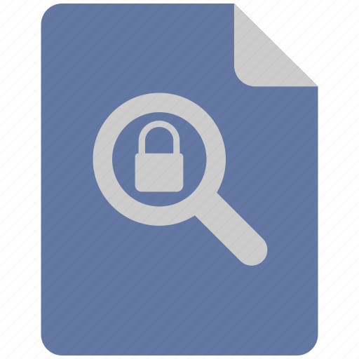 find, instrument, lock, magnifier, security icon