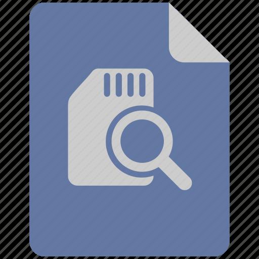 data, find, info, scan, search, sim icon