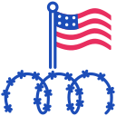wire, fence, immigration, barbed icon