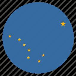 alaska, american, circle, circular, flag, state icon