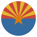 american, arizona, circle, circular, flag, state icon