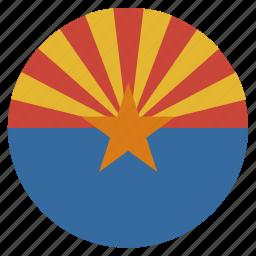 american, arizona, circle, circular, flag, state icon