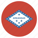 american, arkansas, circle, circular, flag, state icon