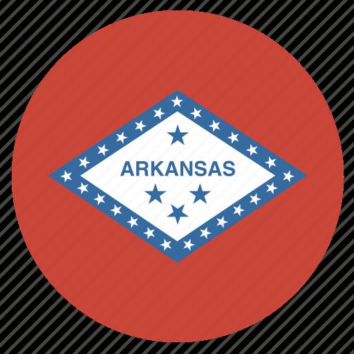 american, arkansas, circle, circular, flag, state icon