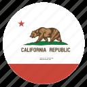 american, california, circle, circular, flag, state icon