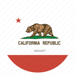 american, california, circle, circular, flag, state icon