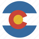 american, circle, circular, colorado, flag, state icon