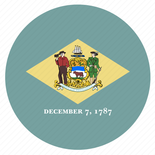 american, circle, circular, delaware, flag, state icon