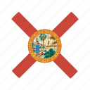 american, circle, circular, flag, florida, state icon