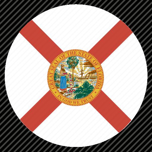 american, circle, circular, flag, florida, state icon