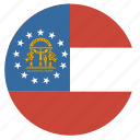 american, circle, circular, flag, georgia, state icon
