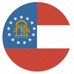 american, circle, circular, flag, georgia, state icon