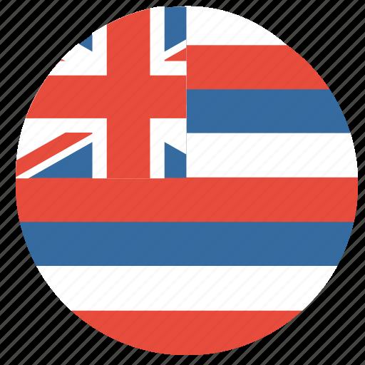 american, circle, circular, flag, hawaii, state icon