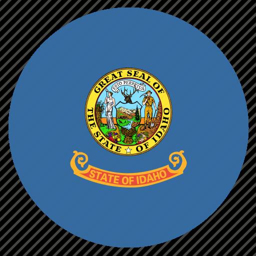american, circle, circular, flag, idaho, state icon