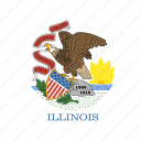 american, circle, circular, flag, illinois, state icon