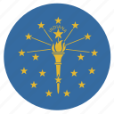 american, circular, cricle, flag, indiana, state icon