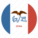 american, circle, circular, flag, iowa, state icon