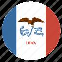 american, circle, circular, flag, iowa, state icon