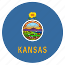 american, circle, circular, flag, kansas, state icon