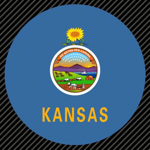 american, circle, circular, flag, kansas, state icon