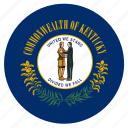 american, circle, circular, flag, kentucky, state icon