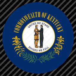 american, circle, circular, flag, kentucky, state icon