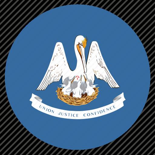 american, circle, circular, flag, louisiana, state icon