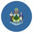 american, circle, circular, flag, maine, state icon