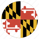 american, circle, circular, flag, maryland, state icon