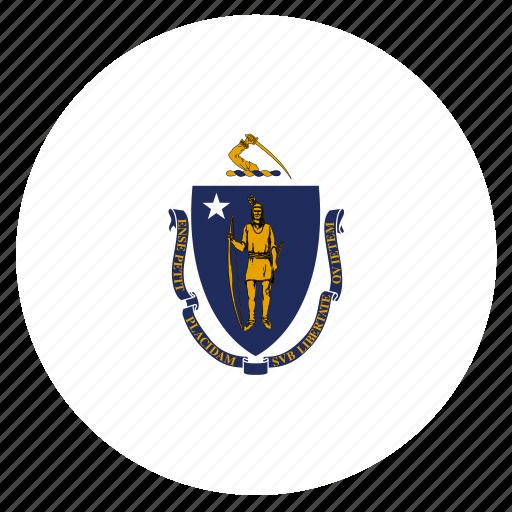 american, circle, circular, flag, massachusetts, state icon