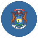 american, circle, circular, flag, michigan, state icon