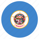 american, circle, circular, flag, minnesota, state icon