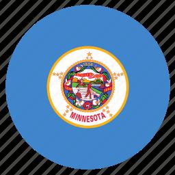 american, circle, circular, flag, minnesota, state icon