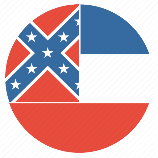 american, circle, circular, flag, mississippi, state icon