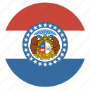 american, circle, circular, flag, missouri, state icon