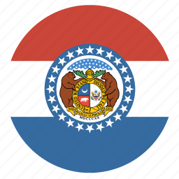 american, circle, circular, flag, missouri, state icon