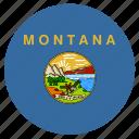american, circle, circular, flag, montana, state icon