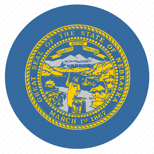american, circle, circular, flag, nebraska, state icon