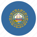 american, circle, circular, flag, hampshire, new, state icon