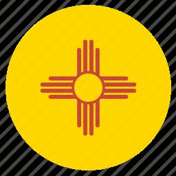 american, circle, circular, flag, mexico, new, state icon