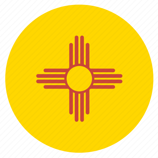 american, circle, circular, flag, mexico, new, state icon