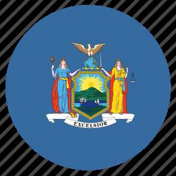 american, circle, circular, flag, newyork, state icon