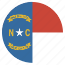 carolina, circle, circular, flag, north, state icon