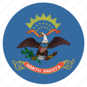 american, circle, circular, dakota, flag, north, state icon