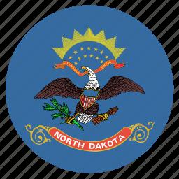 american, circle, circular, dakota, flag, north, state icon