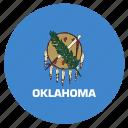 american, circle, circular, flag, oklahoma, state icon