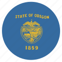american, circle, circular, flag, oregon, state icon