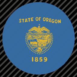 american, circle, circular, flag, oregon, state icon